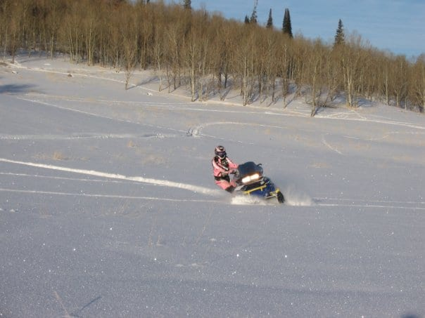 Dr. Gochee during a snowmobile adventures