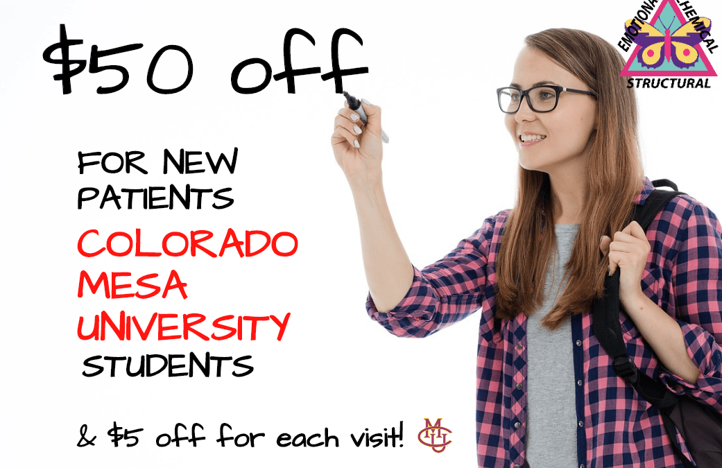 Colorado Mesa University & Western Colorado Community College Students Chiropractic Patient Special in Grand Junction.